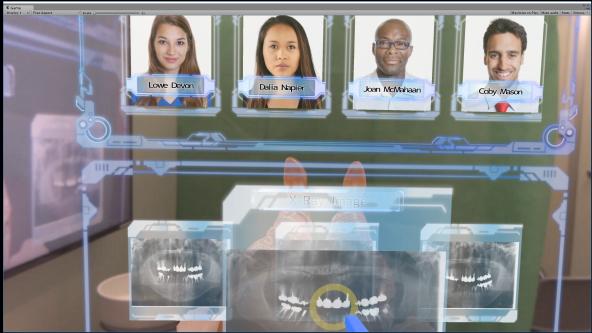 ディスプレイ上にCGで表示された患者情報